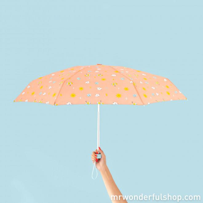 Parapluie petit format corail - Imprimé gouttes d'eau