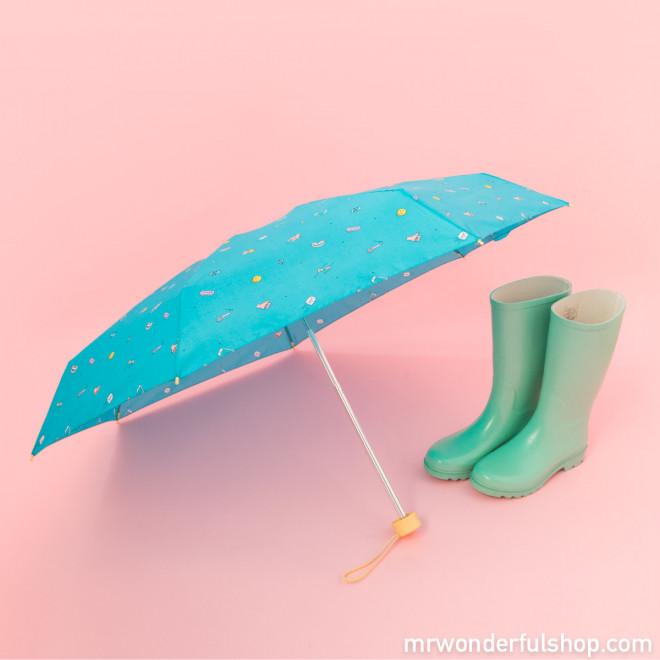 Parapluie petit format turquoise - Ligne Sketch