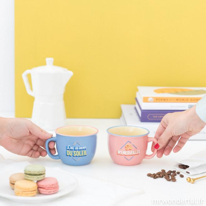 Lot de deux mugs - Dès le lever du soleil tu m'émerveilles