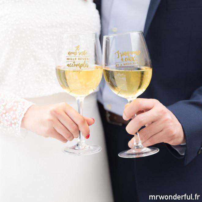 Verres à vin mariage