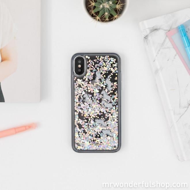 Coque transparente à paillettes pour iPhone X/XS - Licornes