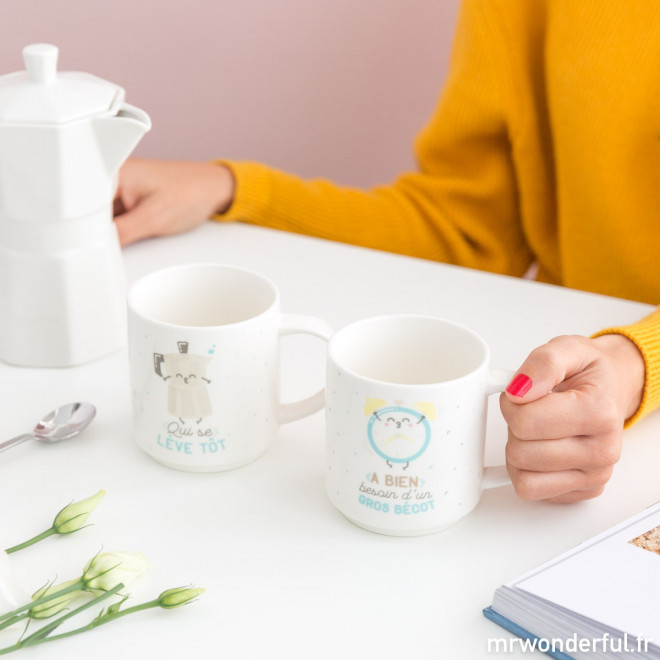 Set de deux mugs emboîtables pour les couples complémentaires