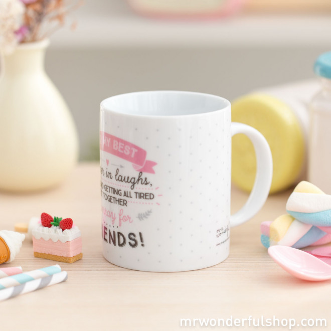 "Mug ""For my best partner in laughs, frolics and getting all tired out together. Hurray for friends!"" (ENG)"
