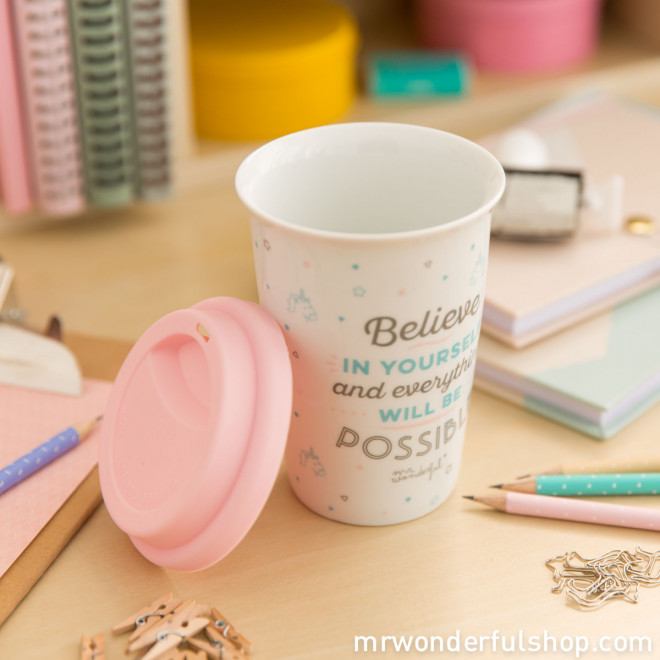 "Mug take away ""Believe in yourself and everything will be possible"" (ENG)"