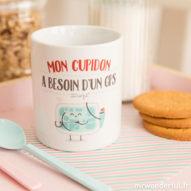 "Mug ""Mon Cupidon a besoin d'un GPS"" (FR)"