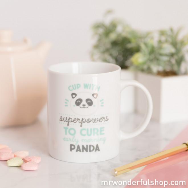 "Mug ""Superpowers to cure early morning panda bear eyes"" (ENG)"