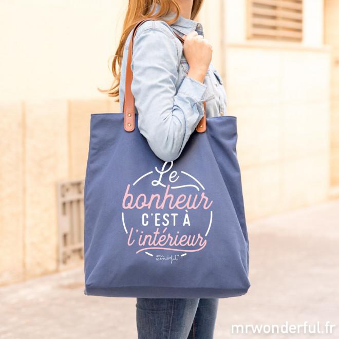 Tote bag - Le bonheur, c'est à l'intérieur (FR)