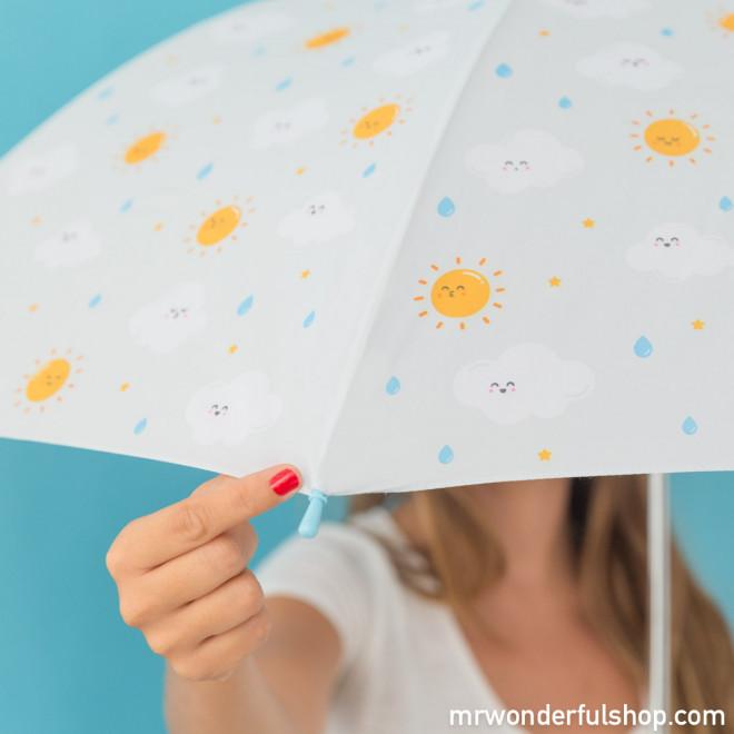 Parapluie grand format - Gris avec imprimé nuage (FR)