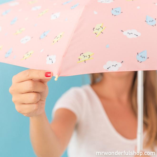 Parapluie petit format corail - imprimé éclair (FR)