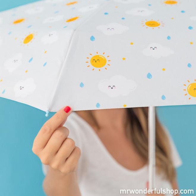 Parapluie petit format gris - imprimé nuage (FR)