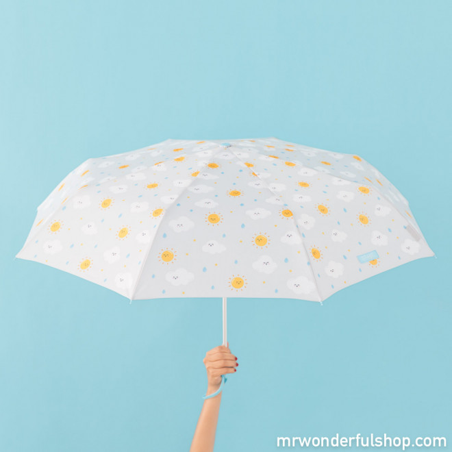 Parapluie moyen format gris - imprimé nuage (FR)