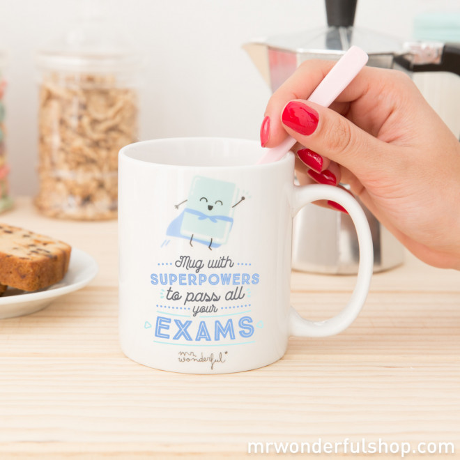 Mug with superpowers to pass all your exams (ENG)