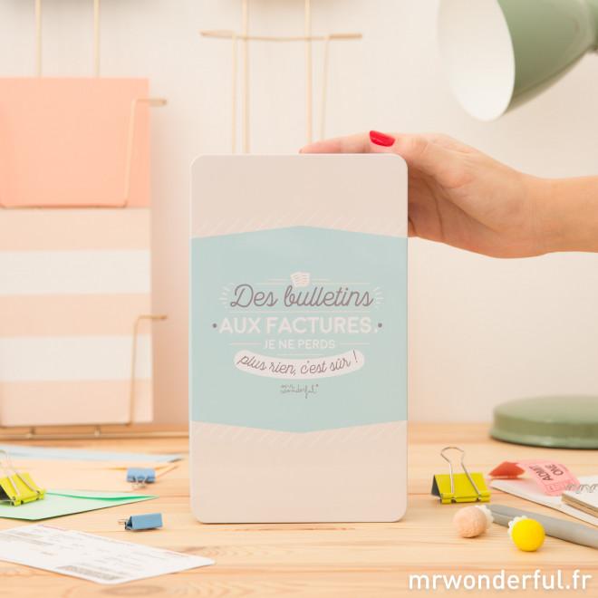 Boîte en métal - Des bulletins aux factures, je ne perds plus rien, c'est sûr !(FR)