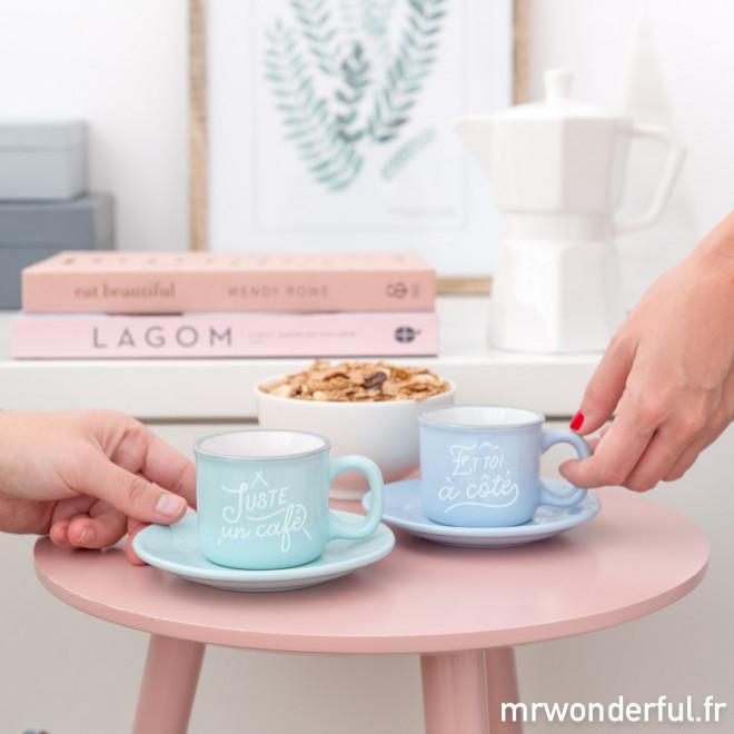 Set de 2 tasses espresso - Juste un café, et toi à côté (FR)