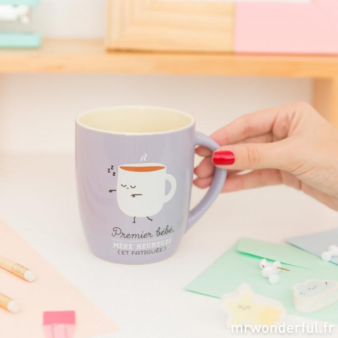 Mug - Premier bébé, mère heureuse (et fatiguée) (FR)