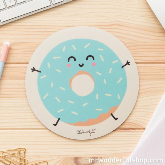 Tapis de souris rond donut mr wonderful - Tapis de souris rond personnalise ...