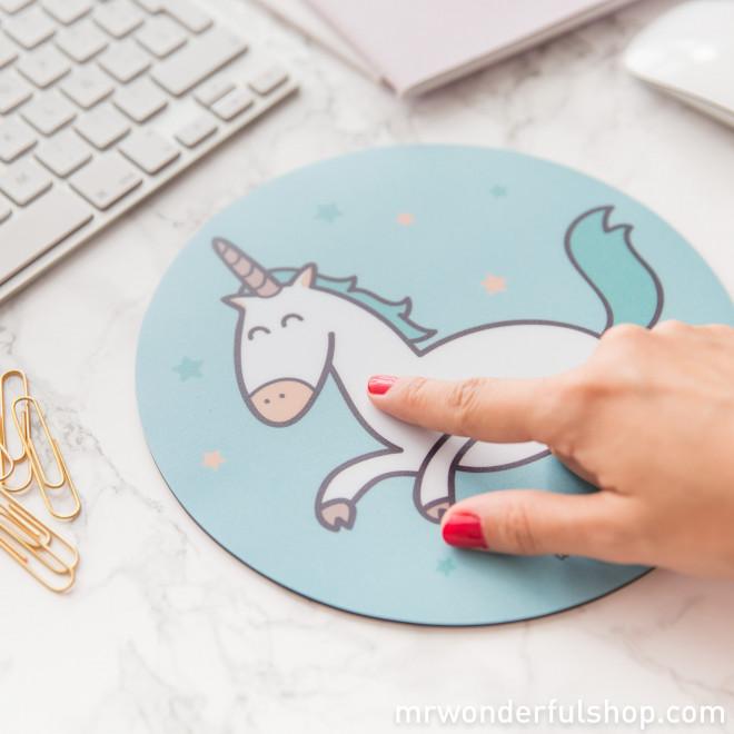 Tapis de souris rond - Licorne (FR)