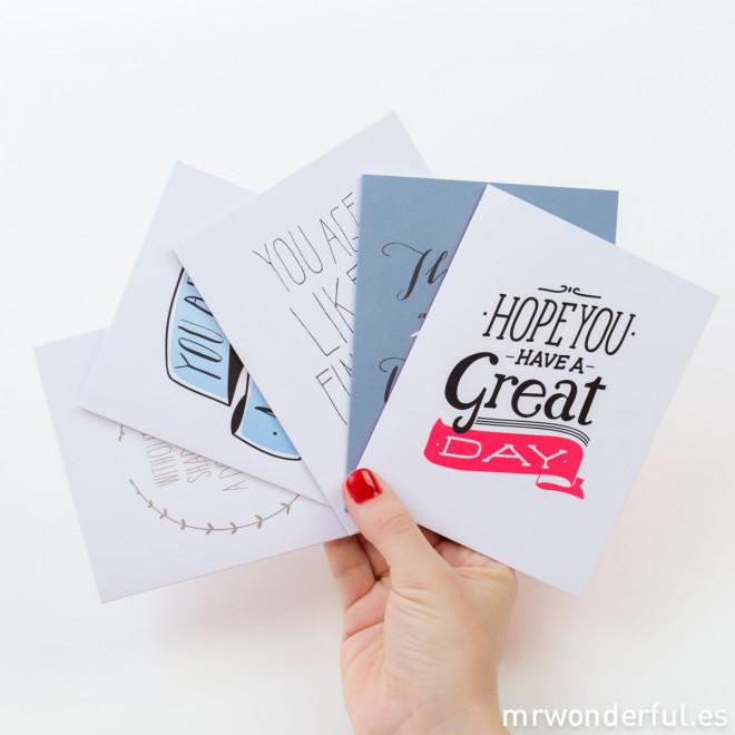 Cartes de voeux en couleur - Lot de 5 modèles (ENG)