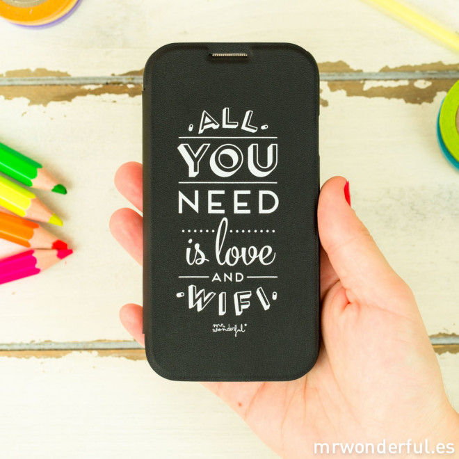 Coque noire pour Samsung Galaxy S4 - All you need is love and wifi