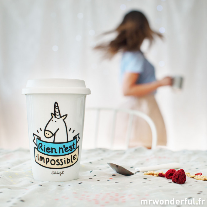"Mug take away ""Rien n'est impossible"" (FR)"