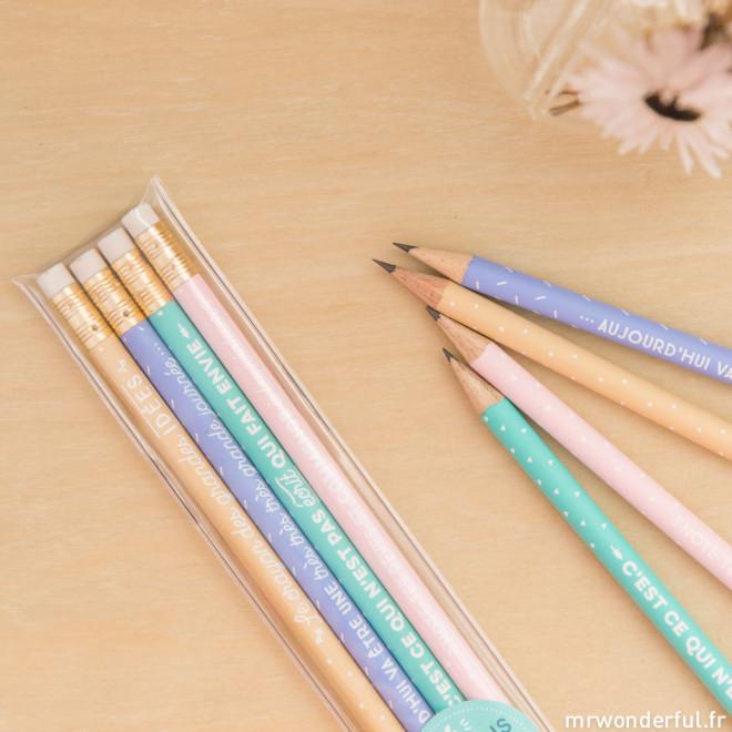 Pack de 4 crayons avec de super messages (FR)
