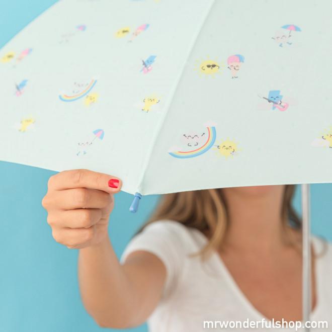 Parapluie grand format - Mint avec imprimé arc-en-ciel (FR)