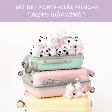 Set de 4 porte-clés peluche super adorables