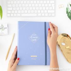 Pack agenda annuel à anneaux bleu + stylos
