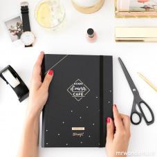 Pack agenda annuel à anneaux noir + stylos