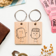 """Set of 2 key-rings """"Toast and marmalade"""""""