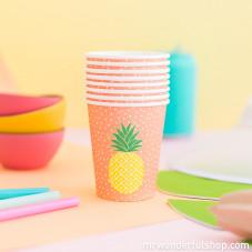 Lot de 8 verres en carton - Ananas