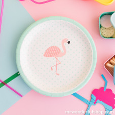 Lot de 8 assiettes en carton - Flamant rose