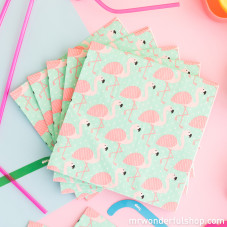Lot de 20 serviettes en papier - Flamant rose