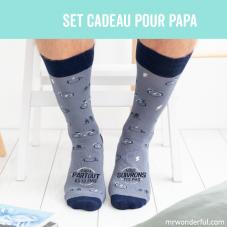 Set cadeau pour les papas casaniers avec des chaussons taille 44-47