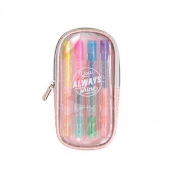 Set of 4 double-ended, coloured marker pens - You always shine