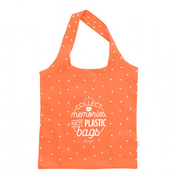 Bolsa de la compra plegable naranja - Collect memories, not plastic bags