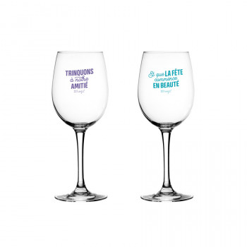 Jeu de 2 verres à vin pour trinquer à notre amitié