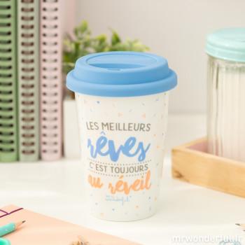 """Mug take away """"Les meilleurs rêves, c'est toujours au réveil"""" (FR)"""