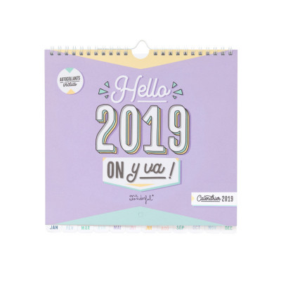 Calendrier mural 2019 - Hello 2019, on y va !