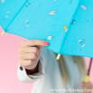 Parapluie grand format turquoise - Ligne Sketch