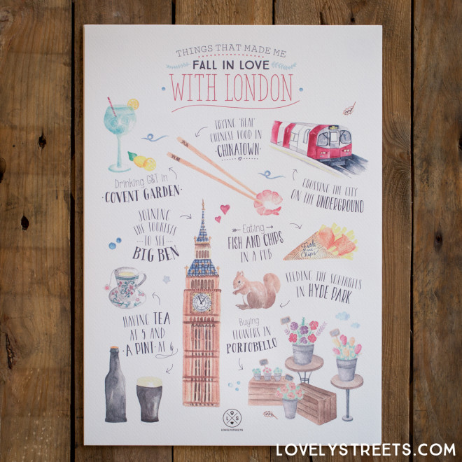 Póster Lovely Streets - Things that made me fall in love with London (ENG)