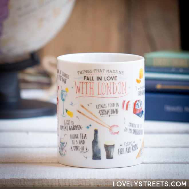 Caneca Lovely Streets - Things that made me fall in love with London (ENG)