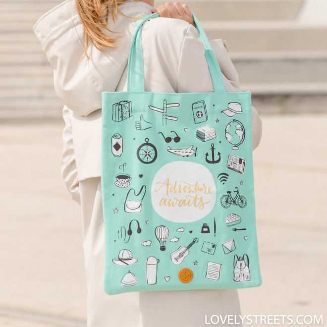 Tote bag Lovely Streets - Adventure awaits