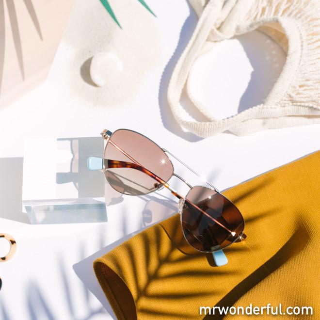 Gafas de sol de metal aviador - Oro satinado + Carey + Azul