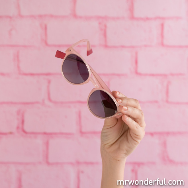 Gafas de sol de inyección - Rosa claro + Fucsia