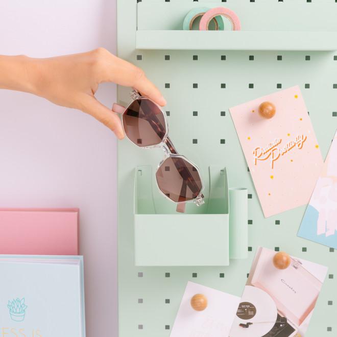 Gafas de sol Trendy inyección hexagonales - Transparente + habana