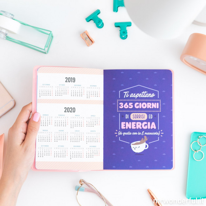Agenda classica piccola 2019-2020 Vista giornaliera - Sei una forza