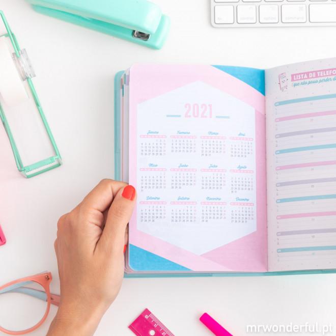 Agenda clássica pequena 2019-2020 Vista semanal