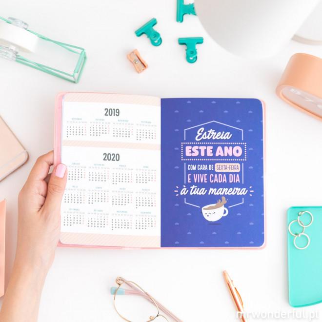 Agenda clássica pequena 2019-2020 Vista diária