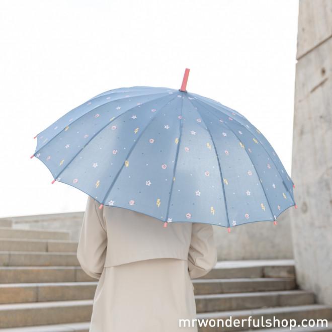 Paraguas grande azul - Estampado planetas